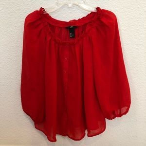 Size US 2 (Euro 32) Red Blouse